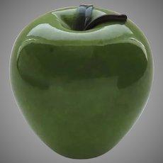 Vintage Green Handblown Glass Apple by Zellique, Joe Morel Signed Dated 2001