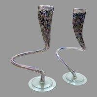 x2 Colorful Blown Glass Sculptures