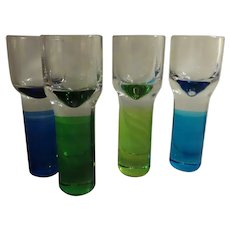 Set of Four Glass Thick Stemmed Cocktail Sipping Glasses