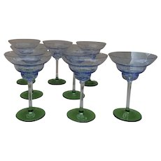 Set of 8 Glass Champagne Martini Cocktail Glasses Green Stems Speckled Blue Cup