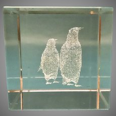 Vintage Crystal Etched Paperweight Two Penguins