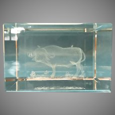 Vintage Crystal Etched Paperweight Water Buffalo and Birds