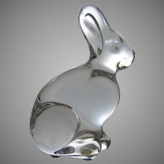 Vintage Baccarat Crystal Bunny Rabbit Sitting with Ears Up Signed
