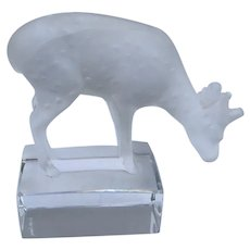 Vintage Lalique France Fawn Deer Figurine Paperweight
