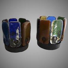 Pair Vintage Mid Century Hippie Glass Votive Lights