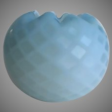 19th Century American Quilted Cased Blue Satin Glass Rose Bowl Vase