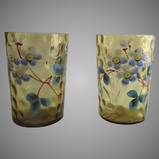 Two (2) 19th Century Glass Enamel Painted Tumblers