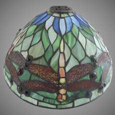 Vintage Leaded Glass Stain Glass Lamp Shade Dragonflies