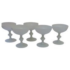 Set of 5 French Portieux White Opaline Champagne Sherbert Glasses