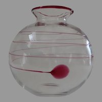 Contemporary Round Glass Vase with Applied Red Swirl Motif