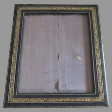 Large Vintage Older Marine Blue Leather Tooled Picture Frame