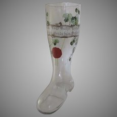 """German Very Large Glass Painted Boot Beer Pilsner 12"""" Tall"""