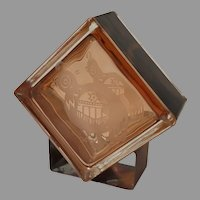 Carved Glass Block Art Bird Quail Square Signed and Dated Southwestern
