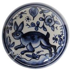 Vintage Arcer Coimbra Hand Painted Covered Jar Trinket Box Blue White Bunny Rabbit