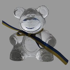Glass Teddy Bear Handmade by Lindshammar Sweden Swedish with Yellow and Blue Bow