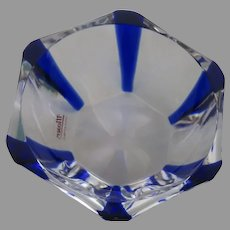 Vintage Small Moser Czech Blue Clear Crystal Bowl