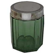 Vintage Green Glass Cigar Jar Tobacco Humidor with Metal Lid Depression Glass