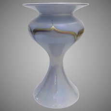 "Vintage Signed Dated Glass Feather Pull Art Glass Vase by Stuart Abelman Iridescent Gold 8"" Tall"