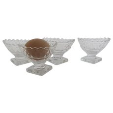 Set of Four (4) Pressed Glass 19th Century Open Footed Salts Re-purpose