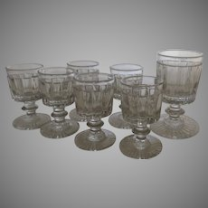 Group of Seven (7) 19th Century Cordial Wine Glasses English c 1840