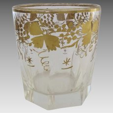 19th Century English Slab Cut Hand Painted Gilt Decorated Glass