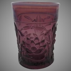 Waterlily and Cattails Amethyst Opalescent by FENTON Tumbler c 1910