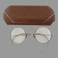 Vintage 1920's Round Metal Etched Eyeglasses Cable Wire