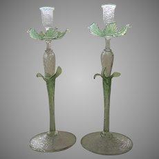 """Tall Vintage Italian Glass Candlesticks 17"""" Tall"""