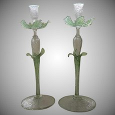 "Tall Vintage Italian Glass Candlesticks 17"" Tall"