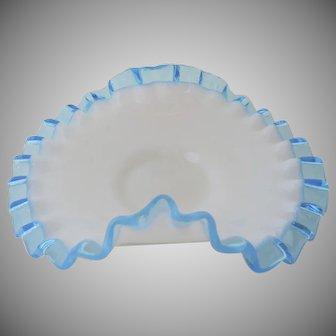 Vintage  Fenton Ruffle Edge Candy Dish Blue and White