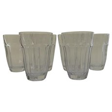 "Vintage Palaks Paneled Glasses 4 1/4"" Tall Tumblers"