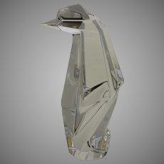 Vintage Baccarat Origami Penguin Sculpture Figure Signed