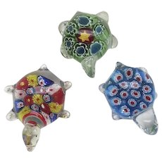 Group of Three (3) Hand Blown Glass Paperweights Turtles Murano Millifiori