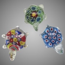 Group of Three (3) Hand Blown Glass Paperweights Turtles Murano Millifiori