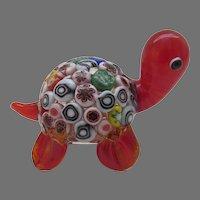 Italian Handblown Glass Millefiori Turtle