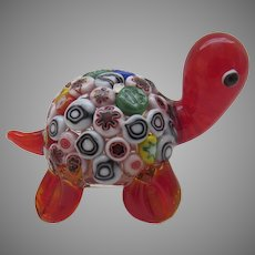 Italian Handblown Glass Millefiori Turtle