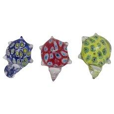 Group of Three (3) Hand Blown Glass Paperweights Turtles Murano Millefiori