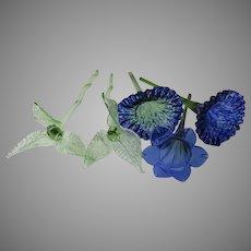 Group of 5 Hand Blown Flowers Blue Green Stems Long