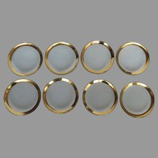 "8 x Annieglass Handcrafted Roman Antique Gold Rim 8"" Plates"