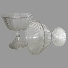 Pair of American Pressed Glass Footed Compotes Bryce Fishscale or Coral
