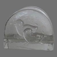 Vintage Swedish Glass Napkin Holder Two Chicks Birds