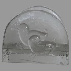Vintage Swedish Glass Napkin Holder Two Chicks Birds