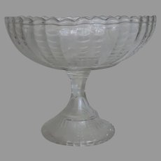 Large American Pressed Glass Footed Compote Bryce Fishscale or Coral