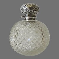 English Large  Sterling Silver Lid Perfume Scent Bottle c 1896