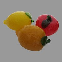 Group of Three (3) Glass Fruit