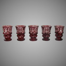 Set of 5 Bohemian Red Cut to Clear Glasses Wine Water Substantial 19th Century