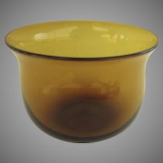 19th Century Amber Glass Finger Bowl Ground Pontal