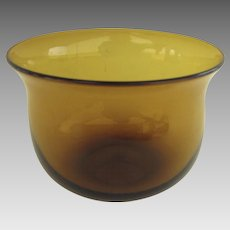 19th Century Amber Glass Finger Bowl Ground Pontal