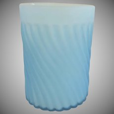 19th Century Light Blue Satin Glass Swirl Pattern Tumbler