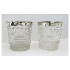 Pair of Cut Glass Open Condiments with Silver Mounts